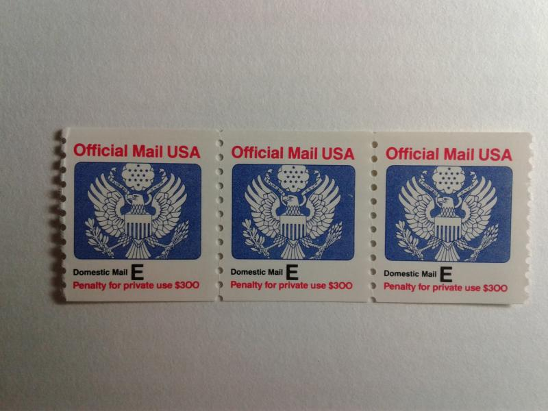 SCOTT # O140 RATE E COIL STRIP OF 3 OFFICIAL MAIL USA MINT NEVER HINGED