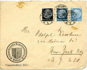 Germany von Hindenburg Issue on 1933 Cover to New York, NY
