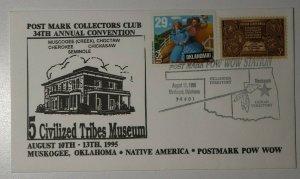 Muskogee Ok Native American Postmark Pow Wow 1995  Philatelic Expo Cachet Cover