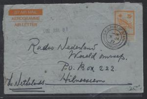 TRINIDAD AND TOBAGO   (P2710B)  1977 QV AEROGRAM TO NETHERLANDS