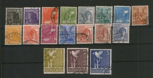 GERMANY -18 USED STAMPS - ALLIED OCCUPATION DEFINITIVES STAMPS - 1947/1948.