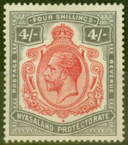 Nyasaland 1913 4s Carmine & Black SG95 Fine MNH