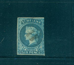 St. Helena - Sc# 1. 1856 6p Victoria. Used. Spacefiller. $225.00.