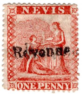 (I.B) Nevis (St Kitts) Revenue : Duty Stamp 1d (1877)