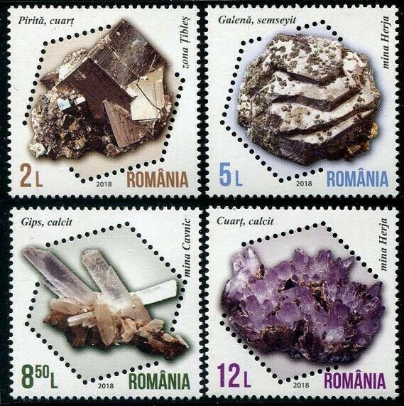 HERRICKSTAMP NEW ISSUES ROMANIA Sc.# 6128-31 Minerals 2018