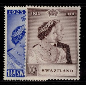SWAZILAND GVI SG46-47, ROYAL SILVER WEDDING set, M MINT. Cat £40.