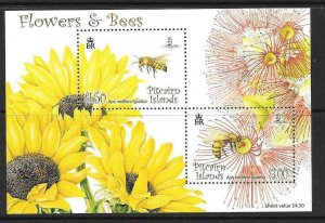 PITCAIRN ISLANDS SGMS767 2008 FLOWERS & BEES MNH