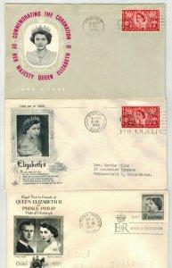 1953 ENGLAND CORONATION QUEEN ELIZABETH 2 SET OF 3 Cachets + Canada