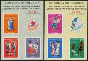 Colombia 797-798 ac sheets,MNH.Michel Bl.33-34. Dancers and Music,1971.