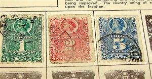 Chile---Lot of 3 Early Postage Stamps---Circa 1879-1909---Hinged , Used