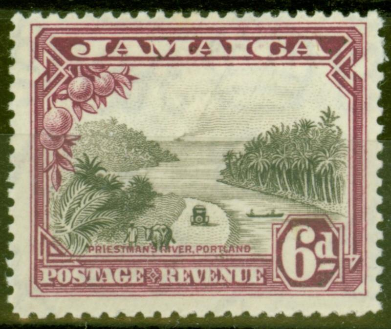 Jamaica 1932 6d Grey-Black & Purple SG113 Fine Mtd Mint
