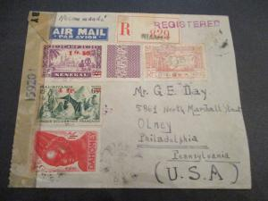 1944 Senegal Mauitane Niger Africa US Mixed Franking Censorship Registered Cover