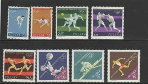 POLAND #1257-1264  1964  OLYMPIC GAMES TOKYO    MINT  VF NH  O.G