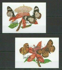AB2231 MALDIVES BUTTERFLIES & FLOWERS FLORA & FAUNA 2BL FIX
