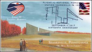 17-373, 2017, Flight 93 Memorial, Shanksville PA, 9-11, Pictorial, Event Cover,