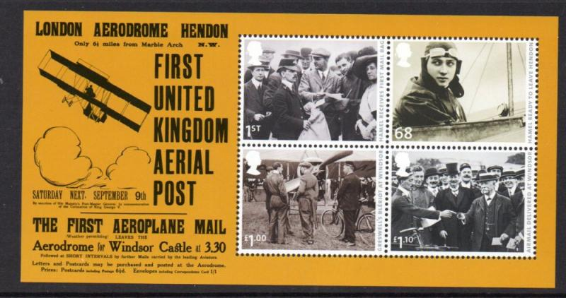 Great Britain Sc 2939 2011 1st Airmail Flight stamp sheet mint NH