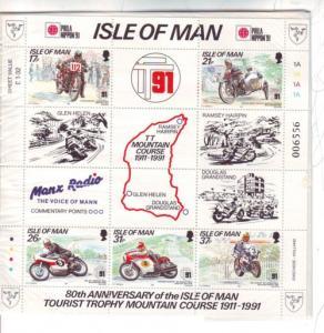 Isle of Man Sc 476b 1991 TT Mountain Course stamp sheet mint NH Phila Nippon