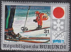 Burundi 392 Hinged CTO 1972 Sapporo Emblem & Downhill Skiing