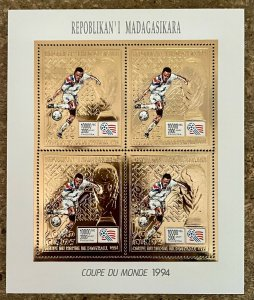 Stamps Gold MiniSheet Football Worldcup USA 94 Madagascar Perf.