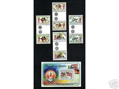 Liberia Sc 1151-1155 MNH. 1992 Olympics SS + gutter pairs, complete set