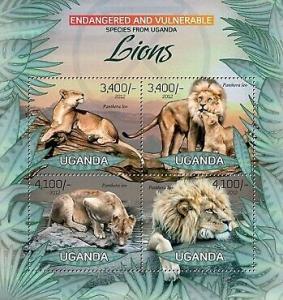 Uganda - Endangered Species - Lions - 4 Stamp  Sheet - 21D-039