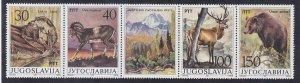 Yugoslavia MNH Strip 1833 W/Label Wildlife Conservation 1987