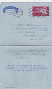 GB 1958 6d Air letter Edinburgh-Port Nelson New Zealand VGC