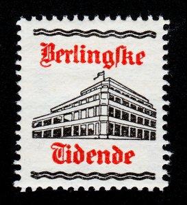 REKLAMEMARKE DENMARK POSTER STAMP BERLINGSKE TIDENDE IN COPENHAGEN MNH-OG