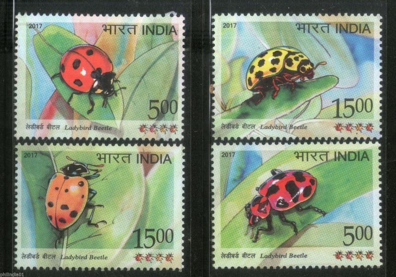 India 2017 Ladybird Beetle Insect Animals Wildlife 4v MNH