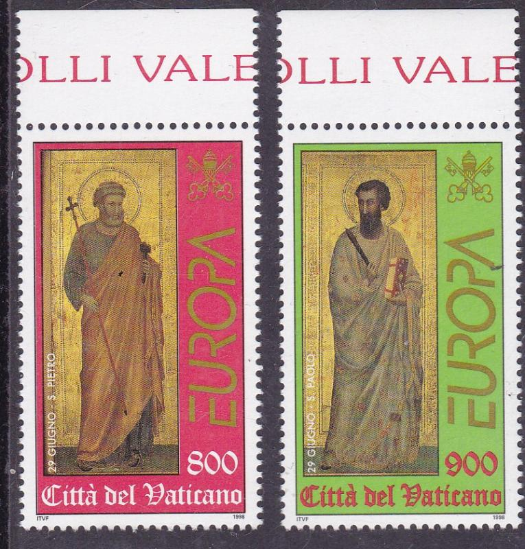 Vatican City 1998 Europa Set of Two St. Peter & St. Paul  ART VF/NH