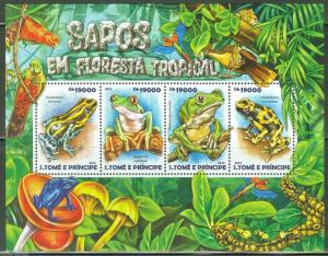 SAO TOME 2015 FROGS  OF THE TROPICAL FOREST  SHEET MINT NH