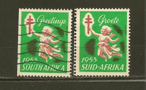 South Africa Christmas Seals 1953 Issue Suid & South Africa Separated Used