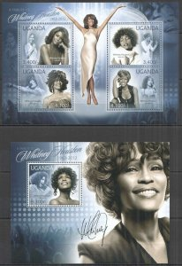 UG051 2012 UGANDA TRIBUTE TO WHITNEY HOUSTON MUSIC LEGEND #2859-2+BL387 MNH