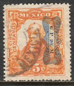 MEXICO 521Var 5¢ CORBATA REVOLUTIONAR INV OVERPRINT (READING DOWN) USED VF (29)