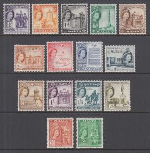Malta Sc 246-260 MNH. 1956 QEII definitives, short set complete to 5sh value, VF