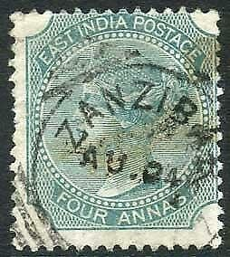 Zanzibar SGZ41a 4a Blue-green Die II Z4 Squared Circle dated 24th Aug