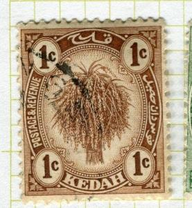 MALAYA KEDAH;   1919 early Rice Sheaf issue fine used 1c. value