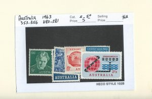 Australia  1963 stamps (scott #'s as marked on card)  MNH