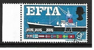 Sg 715pd 1967 EFTA 9d (phos) - Listed Flaw - missing brown - USED