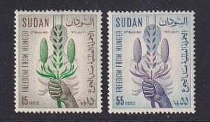 Sudan  #160-161   MNH  1963 FAO freedom from hunger corn and millet