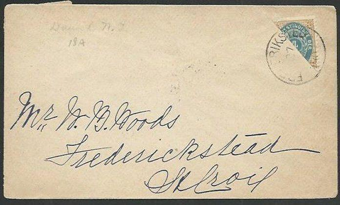 DANISH WEST INDIES 1903 4c bisected on small cover, Christiansted cds......61222