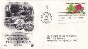 1988, 50th Anniv. Int'l Peace Garden, Art Craft/PCS, FDC (E12263)