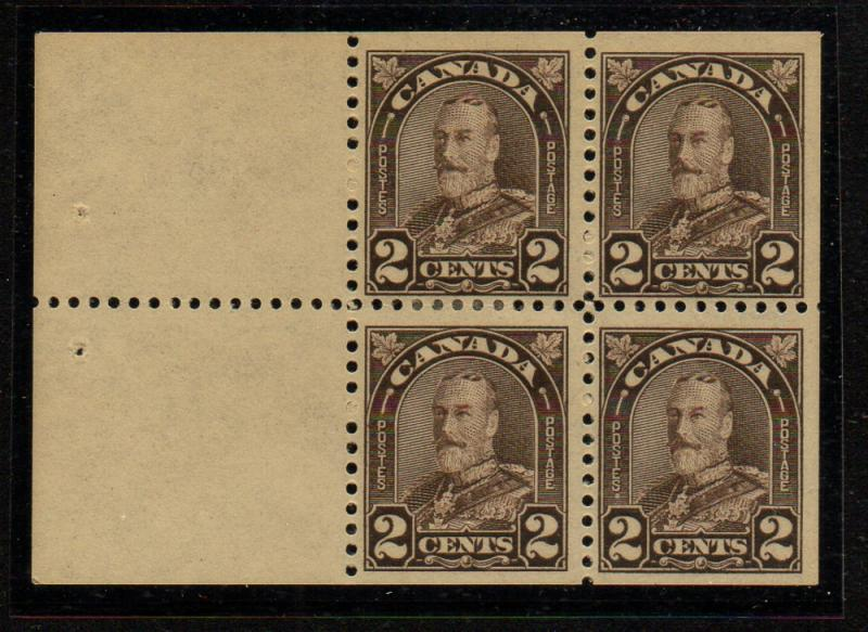 Canada Sc 166a 1931 2c brown G V stamp bklt pane of 4 mint