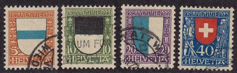 Switzerland Scott #'s B21 - B24 set VF used nice color cv $ 58 ! see pic !