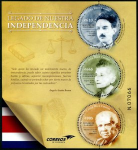 HERRICKSTAMP NEW ISSUES COSTA RICA Legacy of Independence Sheetlet of 3 Diff.