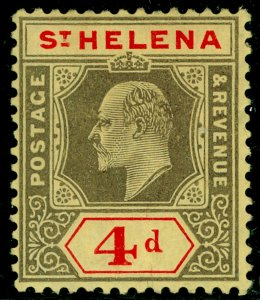 ST. HELENA SG66, 4d black & red/yellow, M MINT. Cat £16. CHALKY.