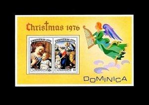 DOMINICA - 1976 - CHRISTMAS - VIRGIN & CHILD - MADONNA - ANGEL - MINT S/SHEET!