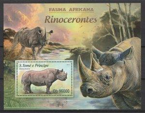 St. Thomas & Prince Isl. MNH S/S Rhinoceros 2013
