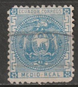 Ecuador 1872 Sc 9 used small thins/torn corner