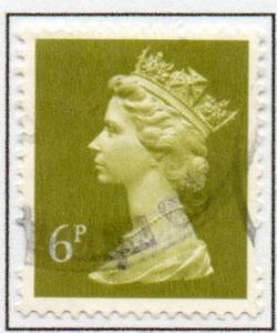Great Britain Sc MH205 1994 6p brt ol green litho  QE II  Machin Head stamp used